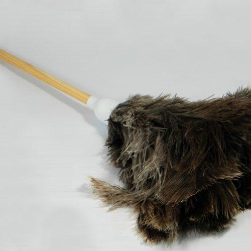 Struisvogel Plumeau met korte houten steel