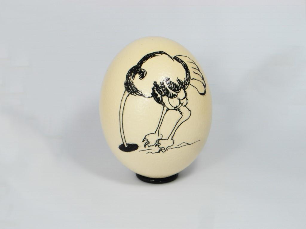 Beschilderd Struisvogelei